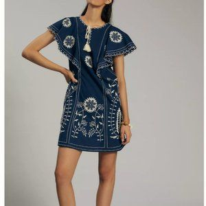 Anthropologie Let Me Be Embroidered Tunic Dress